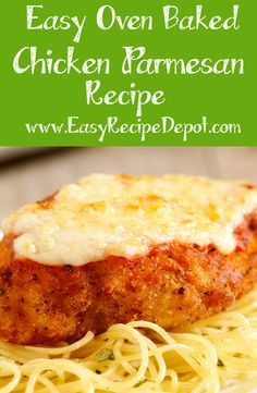 Delicious easy recipe for Oven Baked Chicken Parmesan. Just a few simple steps and easy ingredients to make this awesome recipe! Perfect for a weeknight dinner. Recipes lunch Oven Baked Chicken Parmesan – Quick and Easy Recipe Depot Easy Recipe Depot, Oven Baked Chicken Parmesan, Simple Chicken Parmesan Recipe, Easy Chicken Parmesean, Oven Chicken, Boneless Chicken, Recipe For Baked Chicken Spaghetti, Progresso Chicken Parmesan Recipe, Fried Chicken