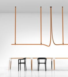 Nendo, the Bouroullecs and Patricia Urquiola launch new lamps with Flos Belt by Ronan and Erwan Bouroullec is a system of leather-wrapped LED modules secured by buckles Patricia Urquiola, Captain Flint, Philippe Starck, Lighting System, Lighting Design, Ronan & Erwan Bouroullec, Luz Led, Light Installation, Bellini