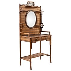 Antique Colonial Bamboo and Rattan Vanity