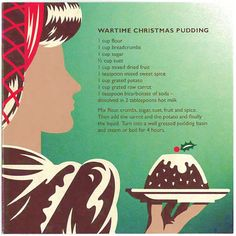 "Wartime Christmas Pudding recipe ~ ""...making lots of use of plentiful root vegetables! 1940-1941 was the first Christmas 'on the ration', with food rationing having been a part of everyday life for almost a year. One positive note was in the week before Christmas, the tea ration was doubled and the sugar ration increased to twelve ounces!"" UK"