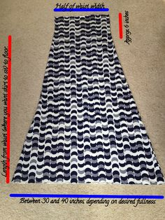 Super easy skirt with built-in fold over waistband, no-sew. Easily change length.
