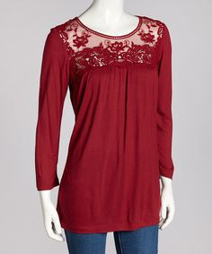 Take a look at this Burgundy Lace Three-Quarter Sleeve Top by Coupé on #zulily today!