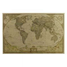 Large Vintage World Map for Home Decor Poster Xxl, World Map Poster, Chart School, One Piece, Single Piece, Wall Maps, Poster Pictures, Kraft Paper, Detailed Image
