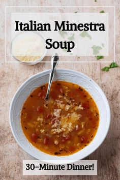 Introducing Minestra Soup. It's a quick and easy Italian soup that is a perfect healthy dinner idea the whole family will love. #healthydinner #easydinner #soup #italianrecipes #dinnertonight #farro