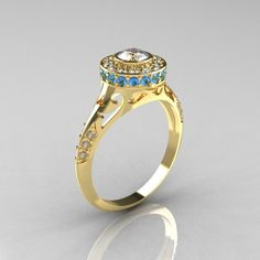 Modern Antique 18K Yellow Gold White Sapphire Aquamarine Diamond Wedding Ring, Engagement Ring. $1,259.00