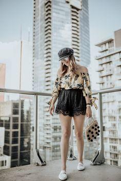 Boho and Braids Air B And B, Lace Shorts, Straw Bag, Off The Shoulder, Toronto, Pineapple, Braids, Mini Skirts, Boho
