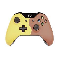 Custom Xbox One Controller  Wireless Glossy  Half-Green Beige-And-Half-Red Orange