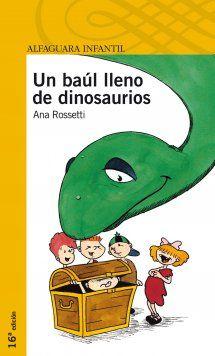 Chus, Cris, Toni, Gabi y Manu abrirán en el fondo de un baúl la puerta del tiempo y se trasladarán a una caverna prehistórica. Deben estar preparados, pues a los cinco les sucederán increíbles e inenarrables aventuras. Guía de actividades: http://www.librosalfaguarainfantil.com/uploads/ficheros/libro/guia-actividades/200201/guia-actividades-un-baul-lleno-dinosaurios.pdf