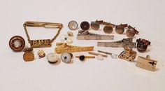 Vintage Scrap Jewelry Lot Cufflinks Tie Bars Repair Junk Drawer Harvest Craft