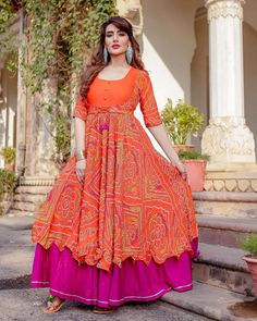 Go for bandej print dis Makar Sankranti Kurta Set Size: S to XL Delivery: working days  Kurti Designs Party Wear, Kurta Designs, Dress Designs, Blouse Designs, Indian Gowns Dresses, Indian Outfits, Baby Dresses, Bandhani Dress, Top Casual