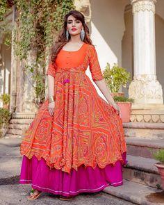 Go for bandej print dis Makar Sankranti Kurta Set Size: S to XL Delivery: working days  Long Gown Dress, Sari Dress, Anarkali Dress, Frock Dress, Salwar Designs, Kurti Designs Party Wear, Dress Designs, Blouse Designs, Indian Gowns Dresses