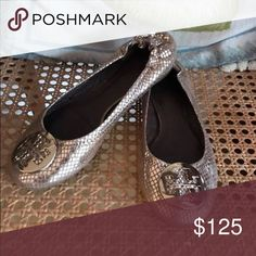 Tory Burch Gold Python Flats Size 7 1/2. Only worn a few times. Tory Burch Shoes Flats & Loafers