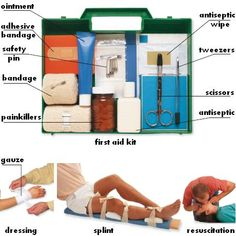 First Aid : first aid kit, painkillers, ointment, safety pin, adhesive bandage, antiseptic, antiseptic wipe, tweezers, scissors, bandage, splint, dressing, resuscitation, gauze