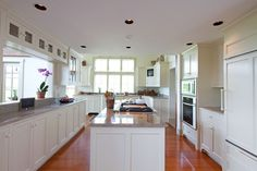 like this kitchen and dinning room layout, Master Chef's Post & Beam Kitchen by Yankee Barn Homes