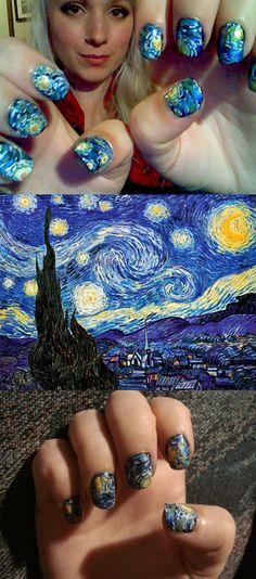 van Gogh nails. One of my favorite paintings. Cool idea.