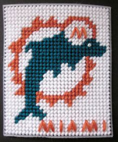 Miami Dolphins tissue box cover plastic canvas PATTERN ONLY