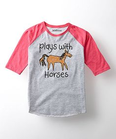 Loving this Athletic Heather & Hot Pink 'Horses' Tee - Toddler & Girls on #zulily! #zulilyfinds