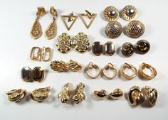32 Piece Estate Lot Vintage Modern Clip On Earrings Gold Tone Metal Retro Deco  #Unbranded #ClipOn