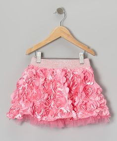 Take a look at this Pink Floral Appliqué Skirt - Toddler & Girls by Lipstik Girls on #zulily today!