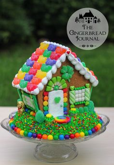tutorial on for a St. Patrick's Day gingerbread house made from a kit! www.gingebreadjournal.com