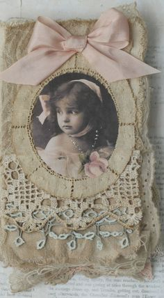 Mixed Media Fabric Collage Book of Little Angels. This is just so pretty Fabric Art, Fabric Crafts, Fabric Books, Collage Book, Handmade Journals, Vintage Journals, Altered Book Art, Fabric Journals, Vintage Crafts