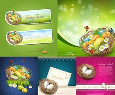 Easter basket with eggs on cards and banners vector