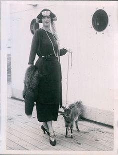 """""""1924 Irene Castle, impeccably dressed as always, with her goat on board ship."""""""