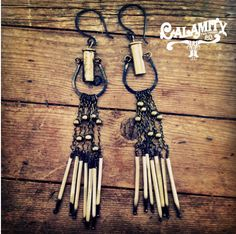 porcupine quill, bullet earrings