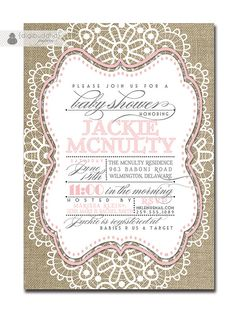 Lace Baby Shower Invitation Linen Burlap Pink by digibuddhaPaperie, $23.00