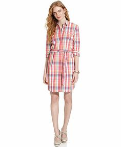 Tommy Hilfiger Long-Sleeve Belted Plaid Shirtdress