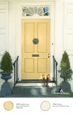 'English Scone' in High Gloss provides a light and airy feel for this #FrontDoor, apart of the Benjamin Moore Aura Grand Entrance launch.