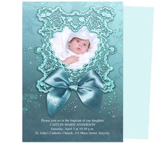 Charmer Baptism Invitation Template | Christening Announcements