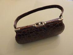 beautiful brown 50's crocodile handbag with a italian glass top