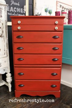 Red never goes out of style! Big Red Chest of Drawers - Welcome to reFresh reStyle!