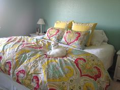 Jaipur Duvet and Valspar Paradise Green paint. The cat had to try out the new bedding too!