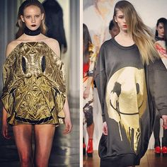 Shiny happy people! Jena Theo & Fyodor Golan Oversized shapes & gold blown up acid faces. #LFW #smile #gold #metallic #trends #oversized #aw13