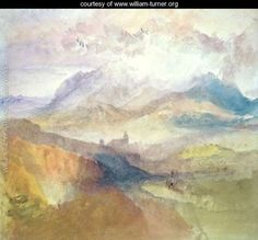 Joseph Mallord William Turner, RA A distant view over Chambery, from the north, with storm clouds, 1836 Watercolour x in x 273 mm) Joseph Mallord William Turner, Landscape Art, Landscape Paintings, Turner Watercolors, Turner Painting, Art Corner, Art Sketchbook, Art History, Modern Art