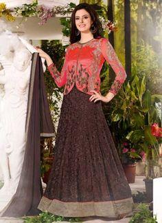 Dazzling Wine Poly Georgette Fancy Embroidery Work  Anarkali Suit http://www.angelnx.com/Salwar-Kameez/Anarkali-Suits