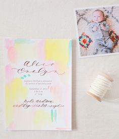 Oh So Beautiful Paper: Alice's Hand Painted Rose Gold Foil Birth Announcements