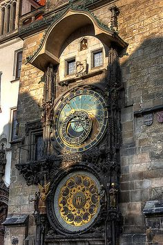 The famous astronomical clock (Orloj) at the old town hall in Prague, Czech Republic