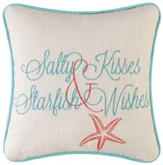 Mini Starfish Wishes Throw Pillow
