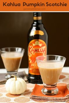 Need a new fall cocktail recipe? Try these irresistible Kahlúa Pumpkin Scotchies made with Kahlúa Pumpkin Spice liqueur and butterscotch schnapps. ~ http://www.garnishwithlemon.com