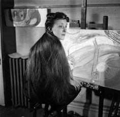Louise Bourgeois in her studio at East 18th Street  in New York, circa 1946, Photo: Louise Bourgeois Archive.