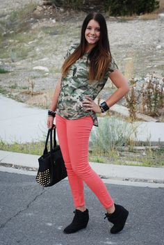 Camo + coral outfit from the red closet diary