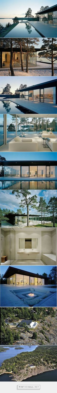Stunning Swedish Villa With Lake Views modern/contemporary art. The house was designed by John Robert Nilsson to prove the seamless connection between nature and design. There is a lavish swimming pool that looks more like an infinity pool, floor to ceiling windows that invites nature in, minimal, unfussy and straightforward interiors along with an amazing couch nook outside