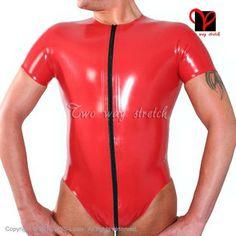 Red Sexy Latex Leotard round collar Rubber Bodysuit Gummi jumpsuit jump  body tights short sleeved XXL TC-039 5de8fa9d7