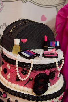 Glam fashion birthday party cake. Decogel makeup and trim