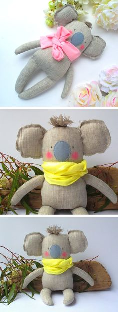 Koala, stuffed Koala softie, baby linen toy, cuddly cute child friendly. Neutral color and yellow. Nice gift for Baby shower, birthday