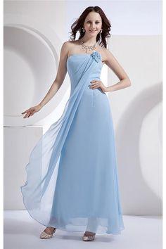 Blau Schlichte Chiffon Abiballkleider Günstig Zum Abiball Blumen $307.99 Schicke Abendkleider