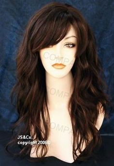 NEW STYLE Long Natural wavy Layered w. BANGS Brown Auburn Mix TRPP HL4/30 - Google Search